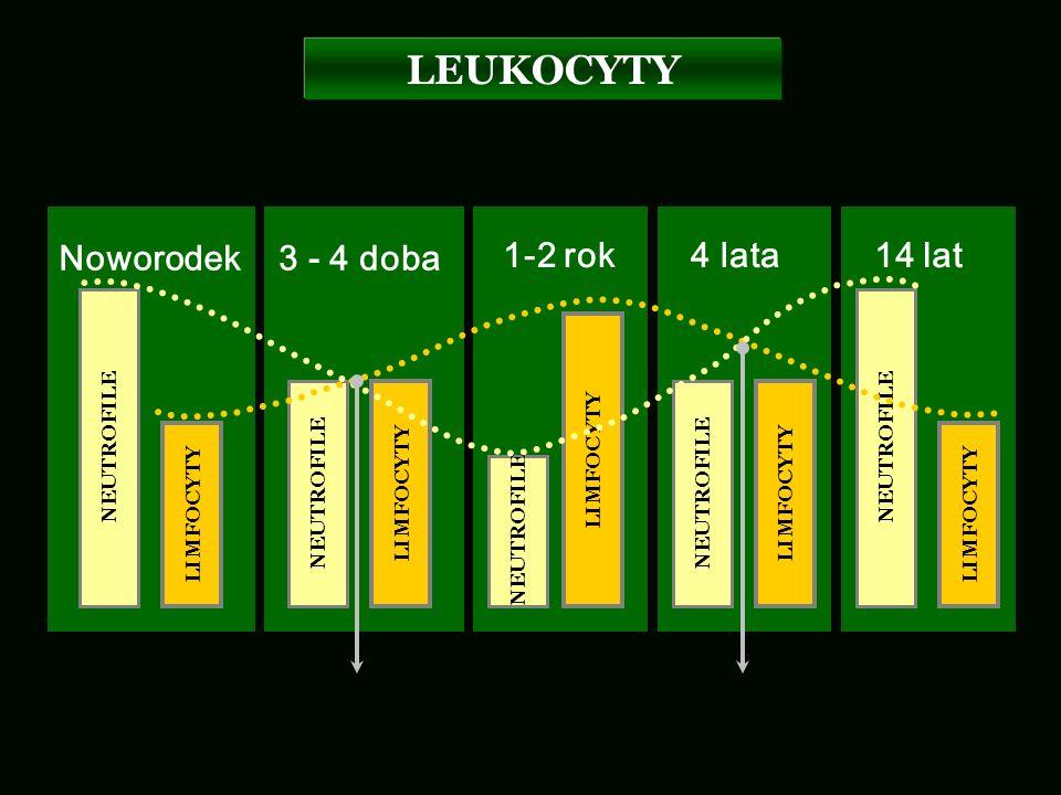 LEUKOCYTY Noworodek 3 - 4 doba 1-2 rok 4 lata 14 lat NEUTROFILE