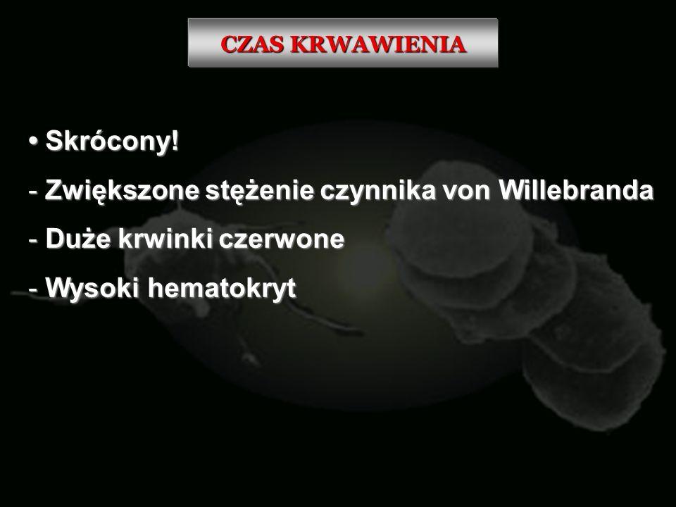 Zwiększone stężenie czynnika von Willebranda Duże krwinki czerwone