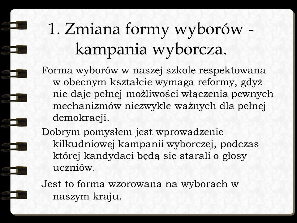 1. Zmiana formy wyborów - kampania wyborcza.