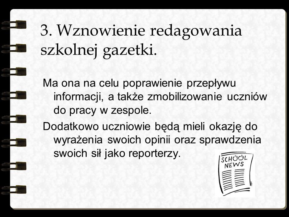 3. Wznowienie redagowania szkolnej gazetki.