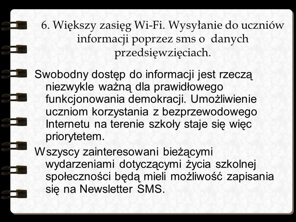 6. Większy zasięg Wi-Fi. Wysyłanie do uczniów informacji poprzez sms o danych przedsięwzięciach.