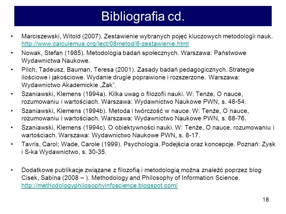 Bibliografia cd.