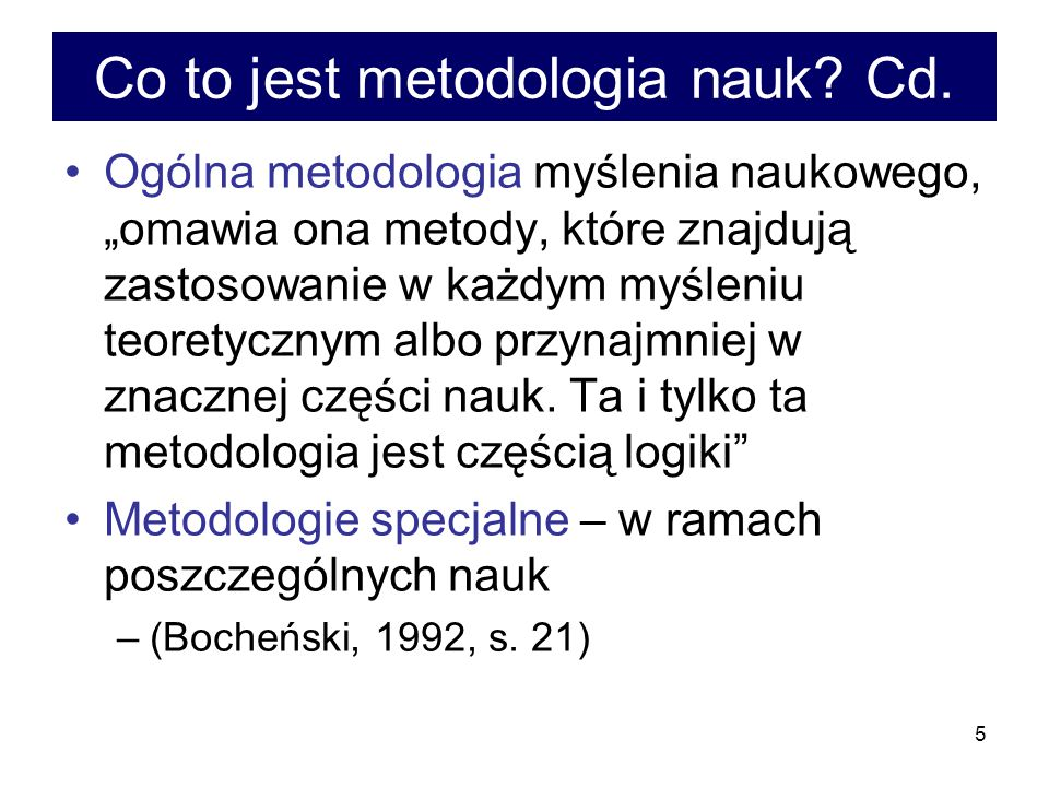 Co to jest metodologia nauk Cd.