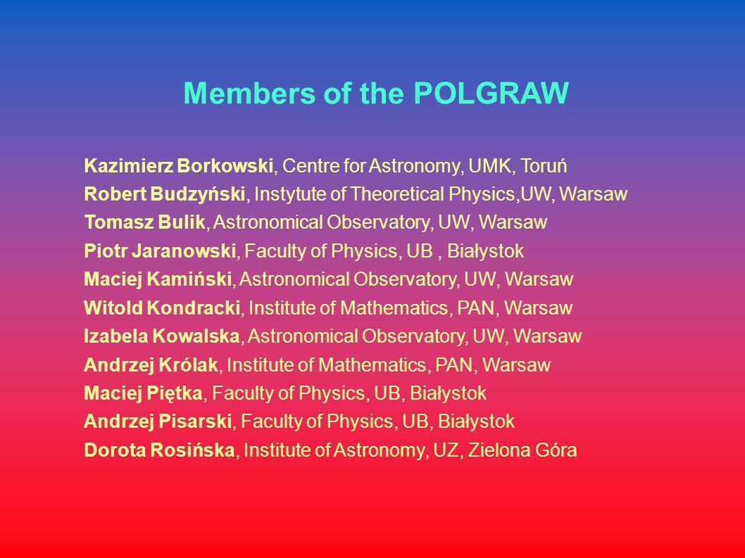 Members of the POLGRAW Kazimierz Borkowski, Centre for Astronomy, UMK, Toruń. Robert Budzyński, Instytute of Theoretical Physics,UW, Warsaw.