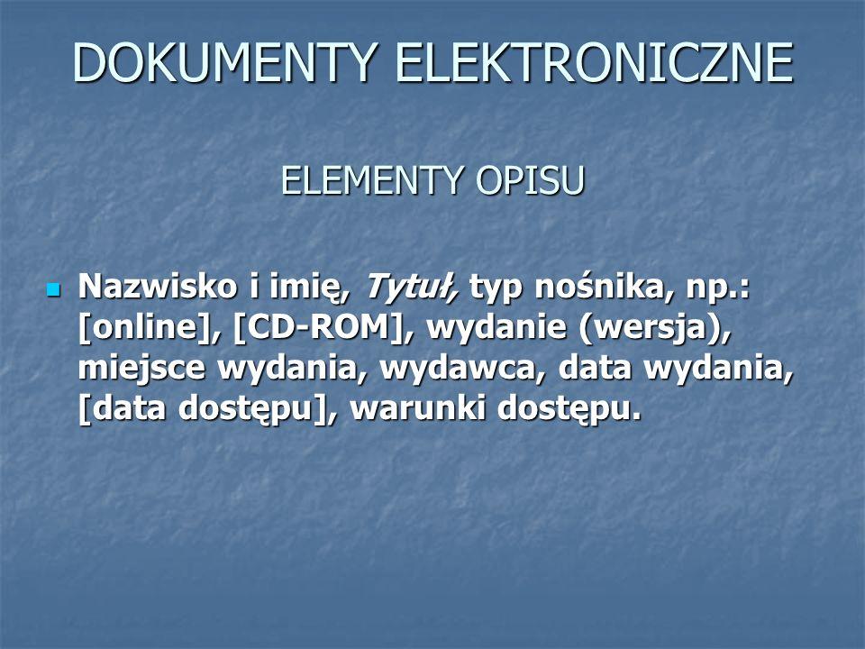 DOKUMENTY ELEKTRONICZNE ELEMENTY OPISU