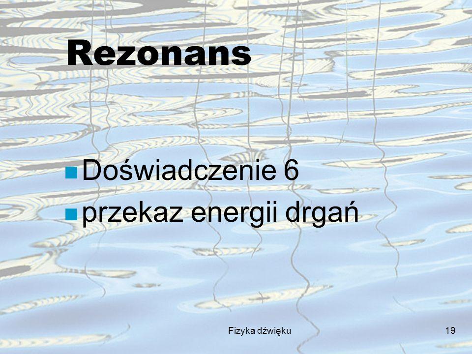 Rezonans Doświadczenie 6 przekaz energii drgań Fizyka dźwięku
