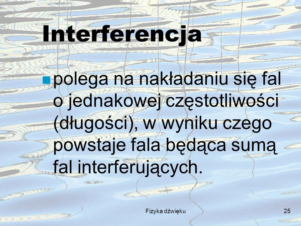 Interferencja polega na nakładaniu się fal o jednakowej częstotliwości (długości), w wyniku czego powstaje fala będąca sumą fal interferujących.