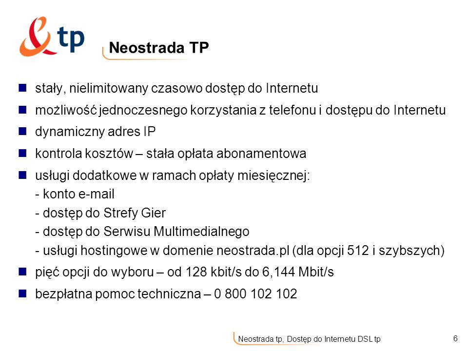 Neostrada TP stały, nielimitowany czasowo dostęp do Internetu