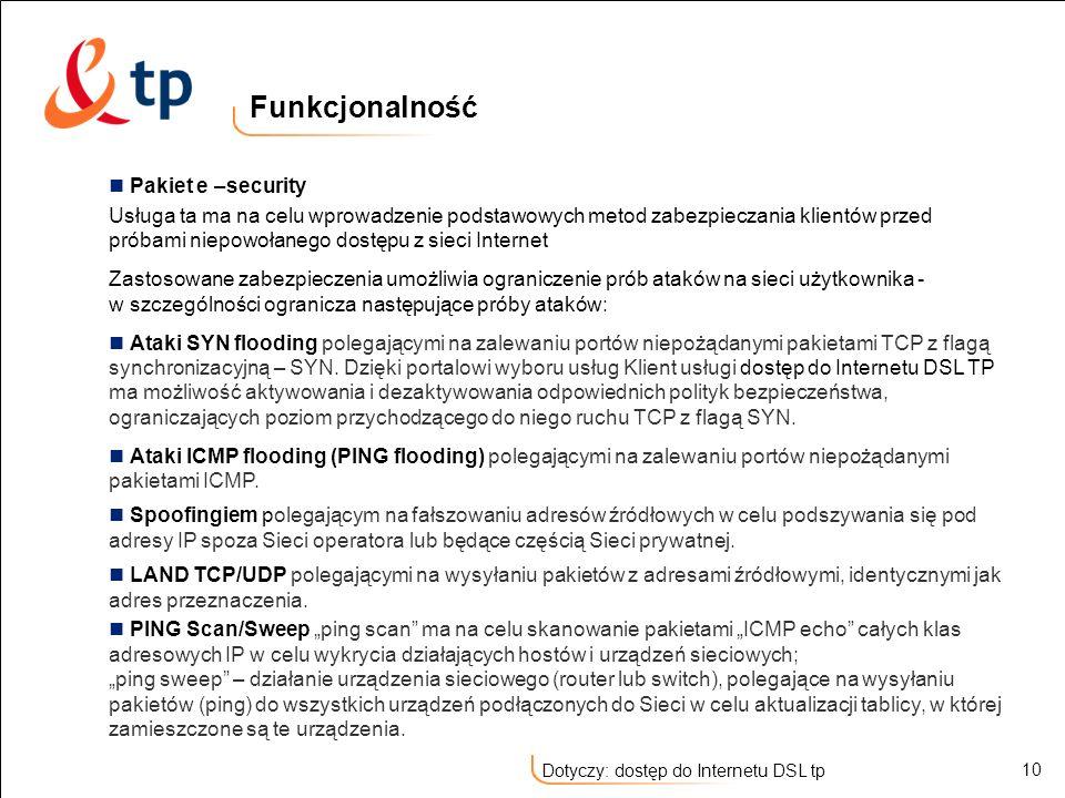 Funkcjonalność Pakiet e –security