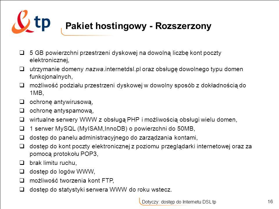 Pakiet hostingowy - Rozszerzony