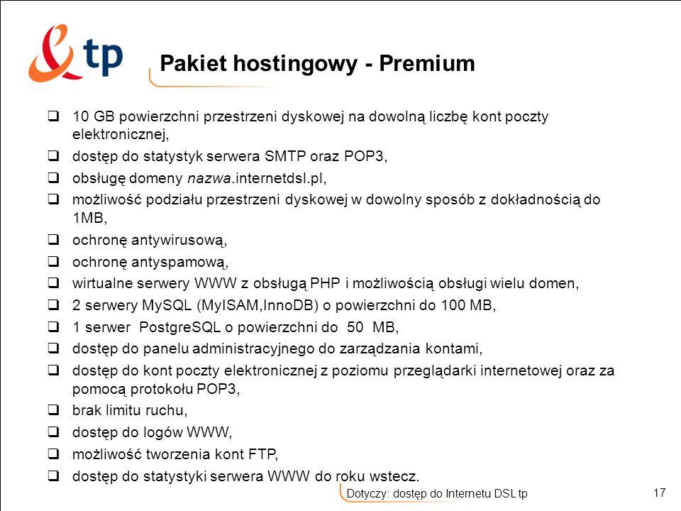 Pakiet hostingowy - Premium
