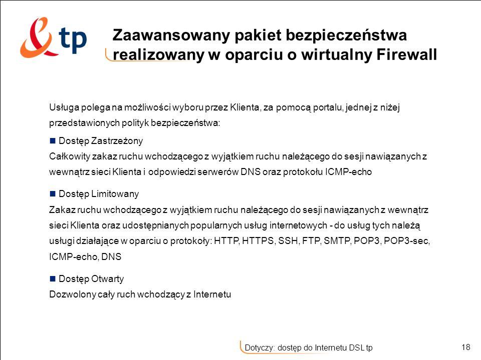 Zaawansowany pakiet bezpieczeństwa realizowany w oparciu o wirtualny Firewall
