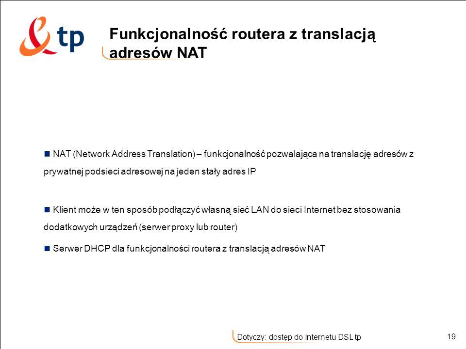 Funkcjonalność routera z translacją adresów NAT