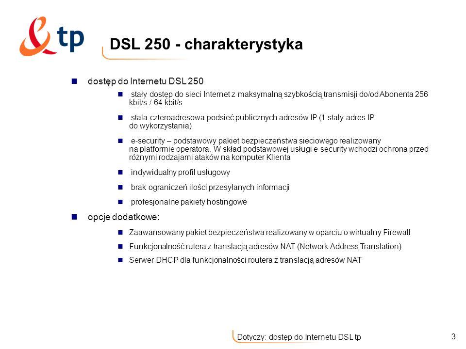 DSL 250 - charakterystyka dostęp do Internetu DSL 250 opcje dodatkowe: