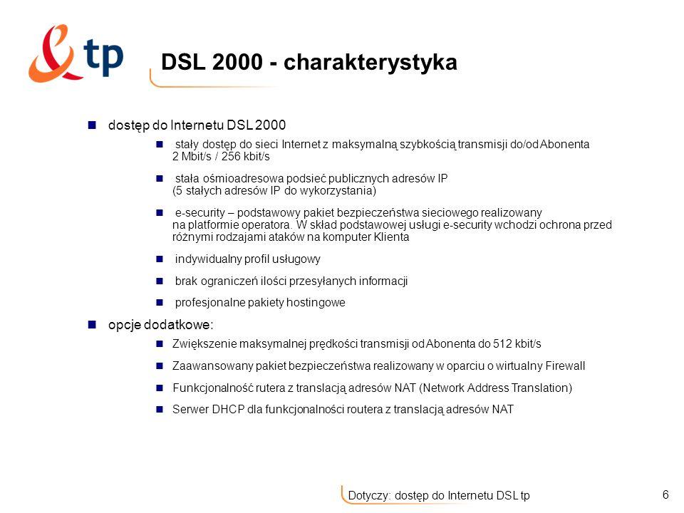 DSL 2000 - charakterystyka dostęp do Internetu DSL 2000