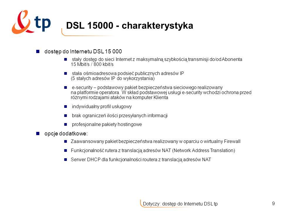 DSL 15000 - charakterystyka dostęp do Internetu DSL 15 000
