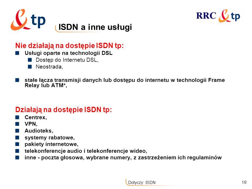 ISDN a inne usługi Nie działają na dostępie ISDN tp: