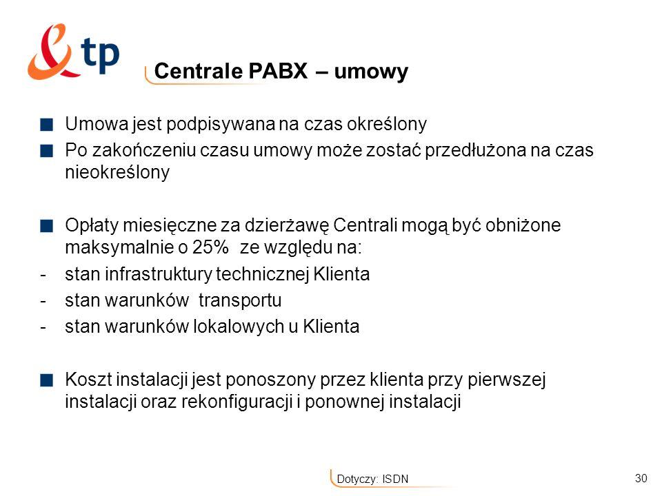 Centrale PABX – umowy Umowa jest podpisywana na czas określony