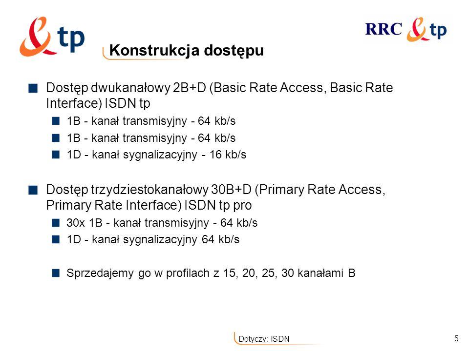 Konstrukcja dostępu Dostęp dwukanałowy 2B+D (Basic Rate Access, Basic Rate Interface) ISDN tp. 1B - kanał transmisyjny - 64 kb/s.