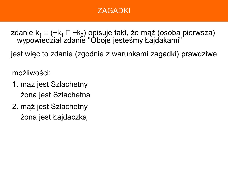 ZAGADKI zdanie k1  (~k1 ∧ ~k2) opisuje fakt, że mąż (osoba pierwsza) wypowiedział zdanie Oboje jesteśmy Łajdakami