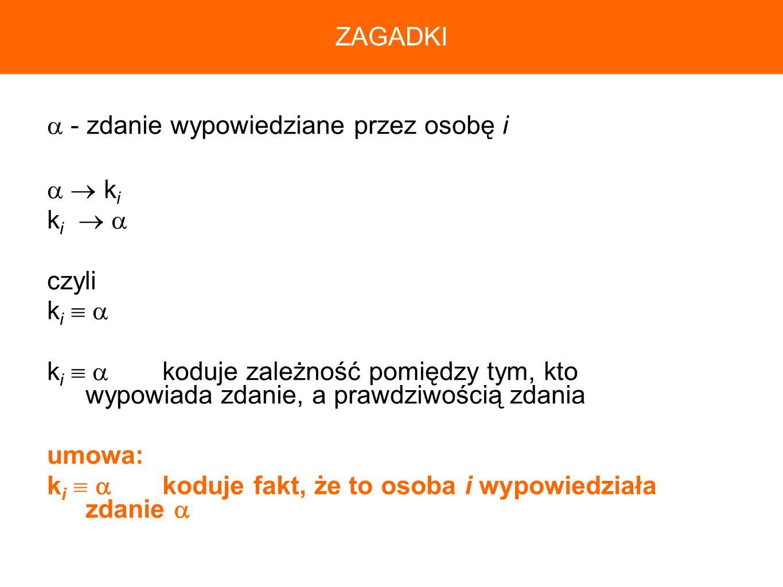 ZAGADKI - zdanie wypowiedziane przez osobę i.   ki. ki   czyli. ki  