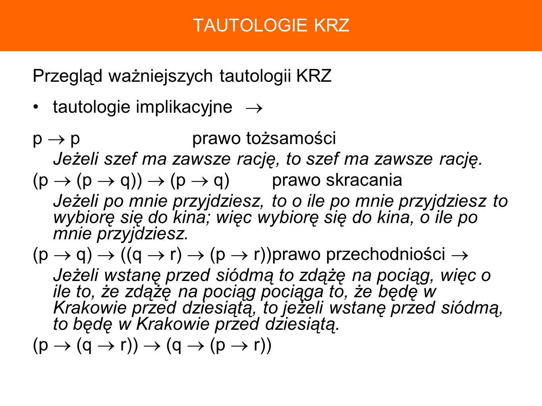 TAUTOLOGIE KRZ Przegląd ważniejszych tautologii KRZ. tautologie implikacyjne  p  p prawo tożsamości.