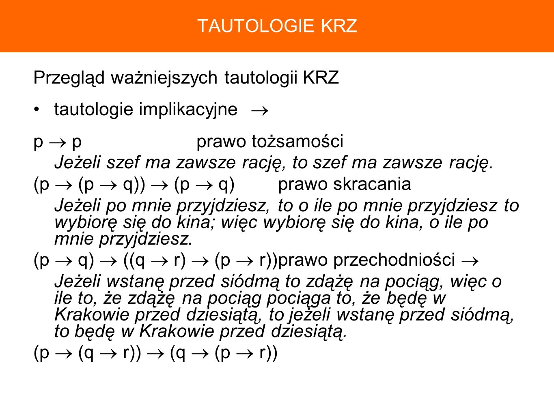 TAUTOLOGIE KRZPrzegląd ważniejszych tautologii KRZ. tautologie implikacyjne  p  p prawo tożsamości.