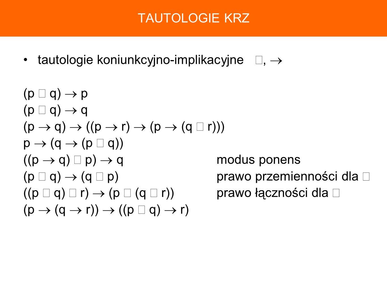 TAUTOLOGIE KRZtautologie koniunkcyjno-implikacyjne ∧,  (p ∧ q)  p. (p ∧ q)  q. (p  q)  ((p  r)  (p  (q ∧ r)))