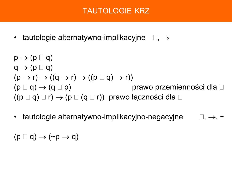 TAUTOLOGIE KRZtautologie alternatywno-implikacyjne ∨,  p  (p ∨ q) q  (p ∨ q) (p  r)  ((q  r)  ((p ∨ q)  r))