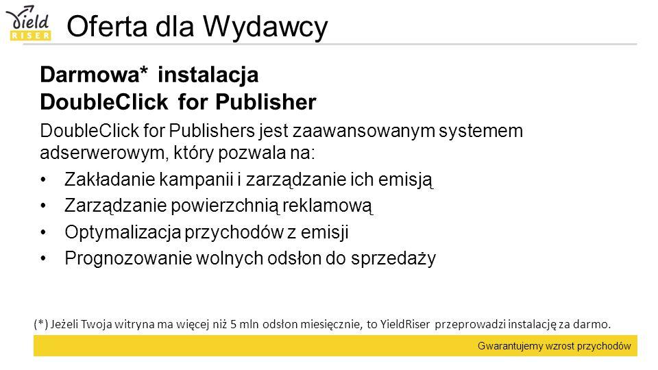 Oferta dla Wydawcy Darmowa* instalacja DoubleClick for Publisher