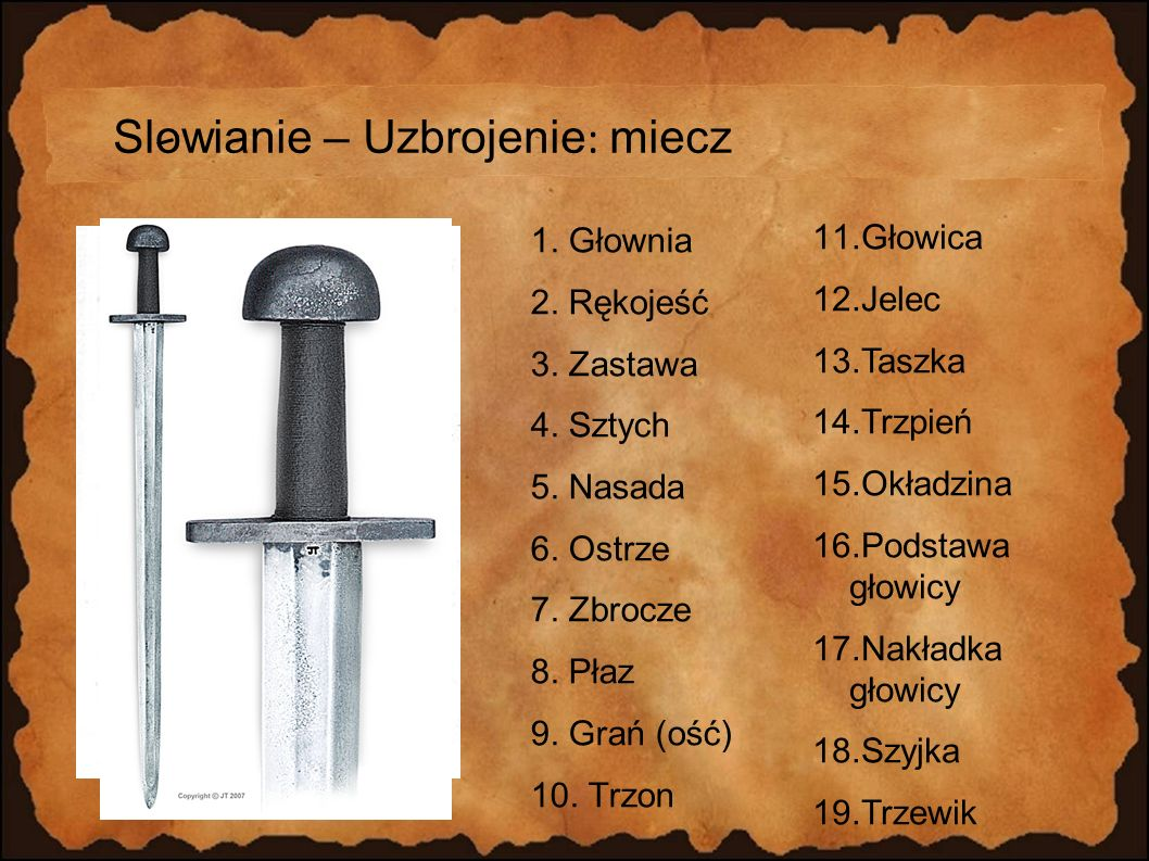Slowianie – Uzbrojenie: miecz