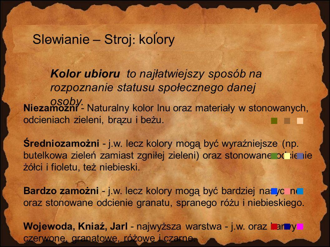 Slowianie – Stroj: kolory