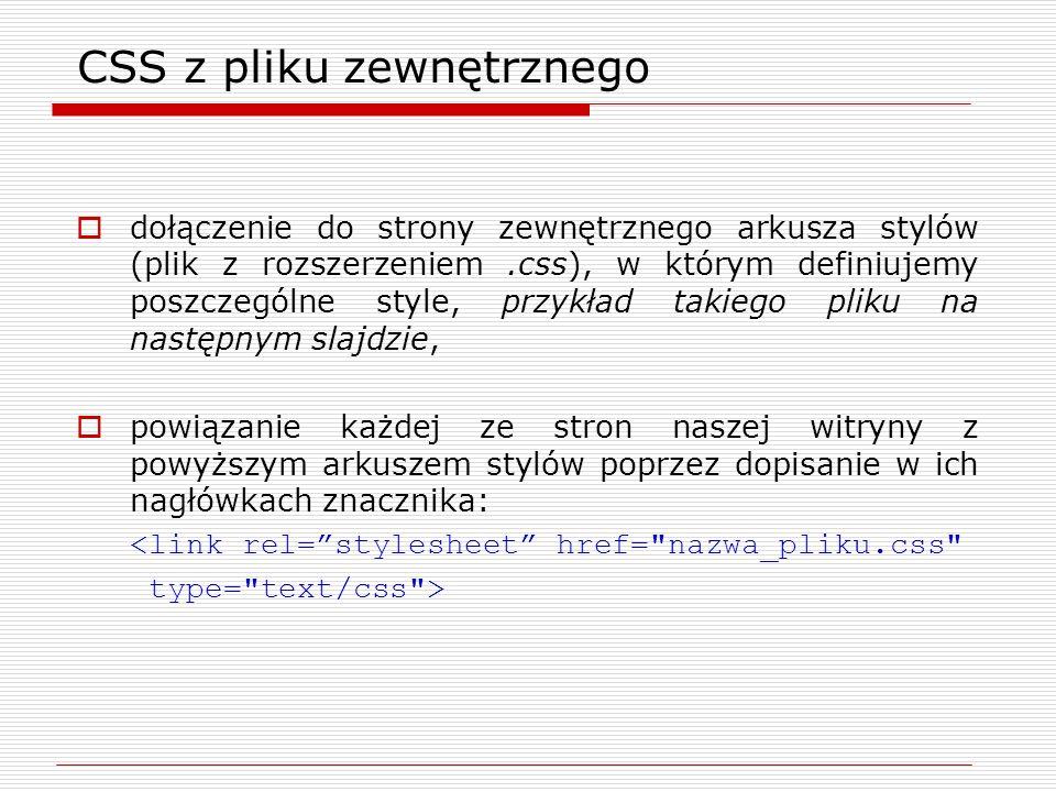 CSS z pliku zewnętrznego