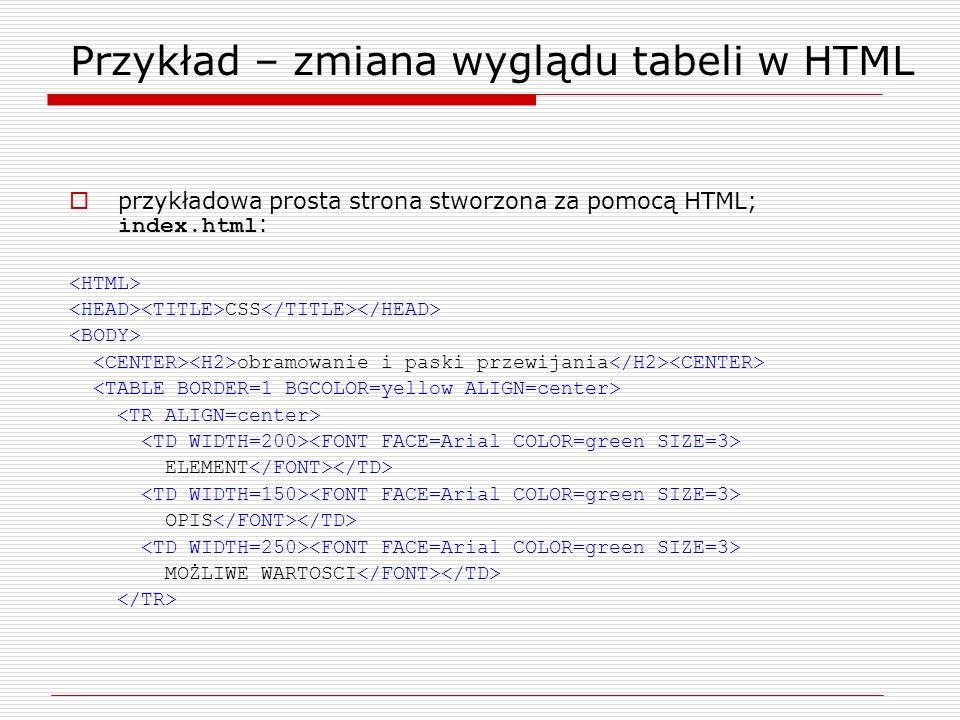Przykład – zmiana wyglądu tabeli w HTML