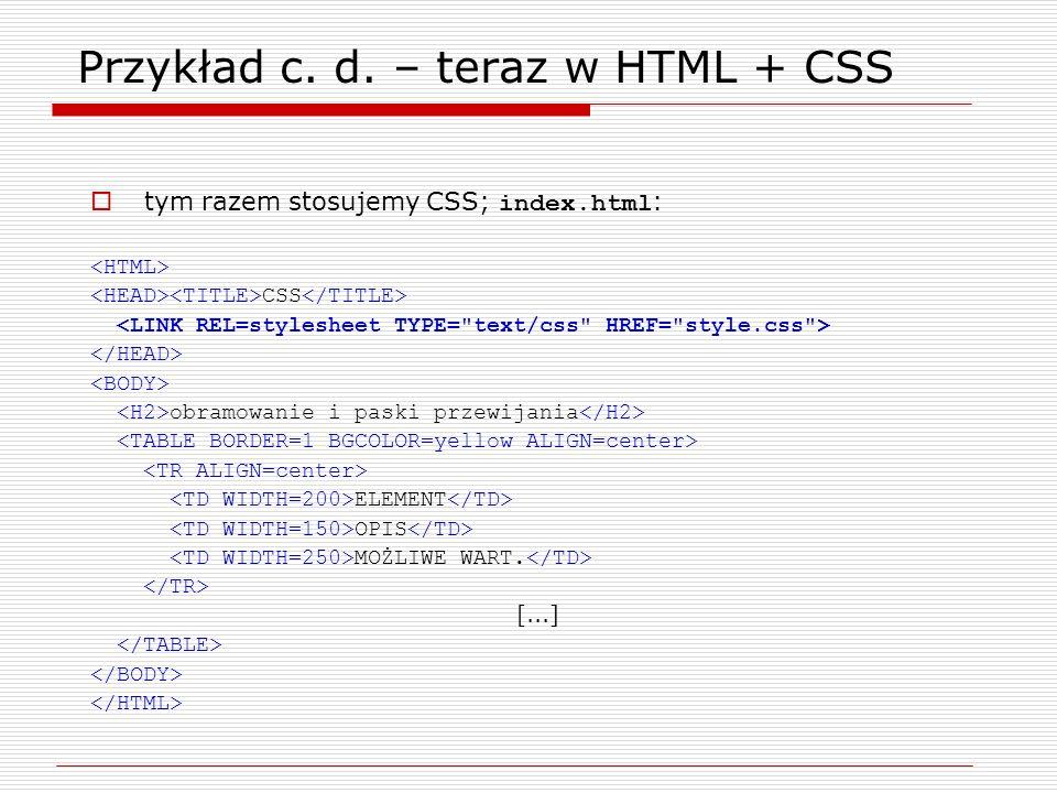 Przykład c. d. – teraz w HTML + CSS