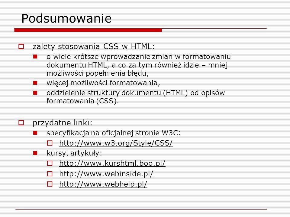 Podsumowanie zalety stosowania CSS w HTML: przydatne linki: