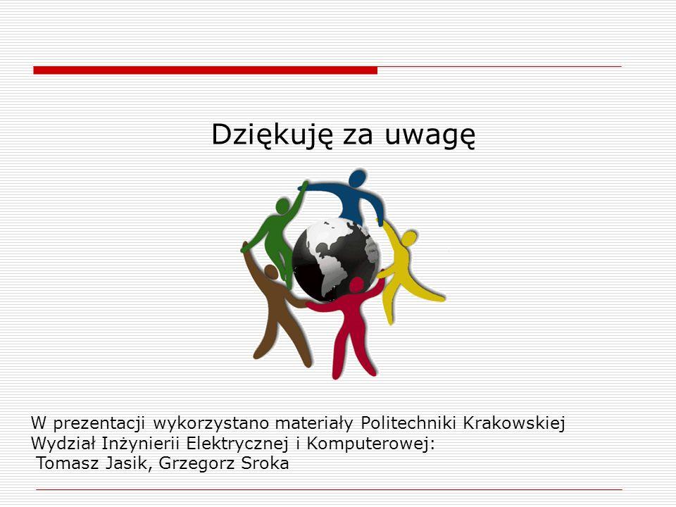 Dziękuję za uwagę W prezentacji wykorzystano materiały Politechniki Krakowskiej. Wydział Inżynierii Elektrycznej i Komputerowej: