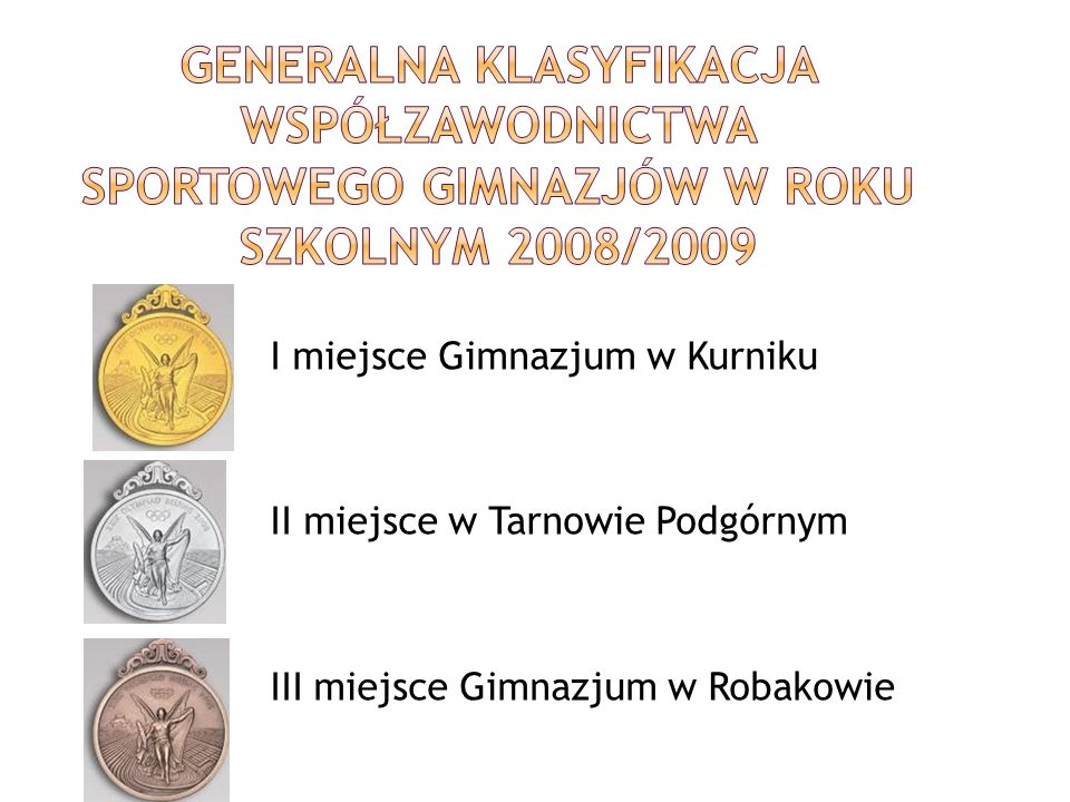 Generalna klasyfikacja współzawodnictwa sportowego gimnazjów w roku szkolnym 2008/2009