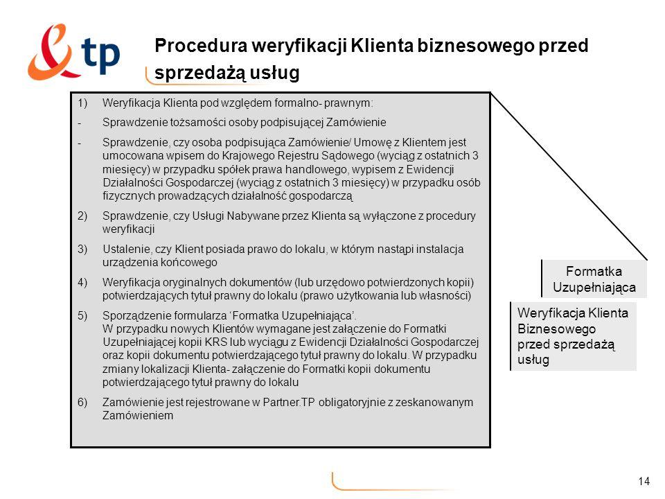 Procedura weryfikacji Klienta biznesowego przed sprzedażą usług