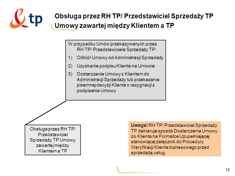 Obsługa przez RH TP/ Przedstawiciel Sprzedaży TP Umowy zawartej między Klientem a TP