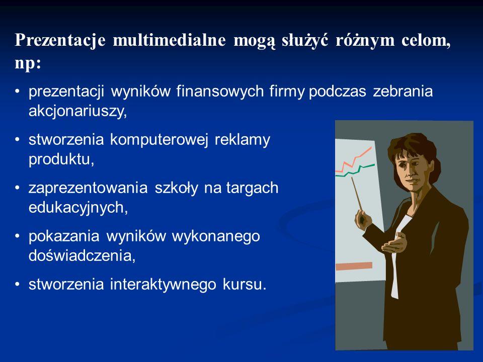 Prezentacje multimedialne mogą służyć różnym celom, np: