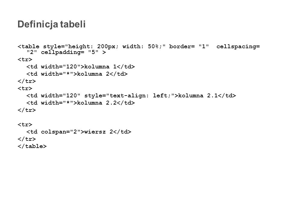 Definicja tabeli