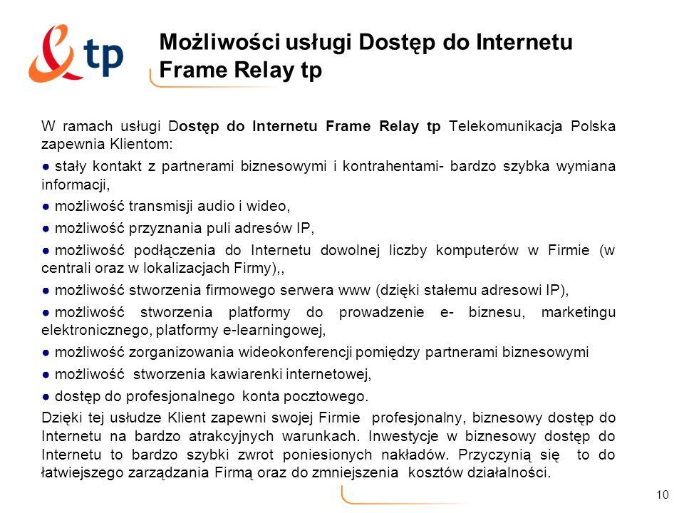 Możliwości usługi Dostęp do Internetu Frame Relay tp