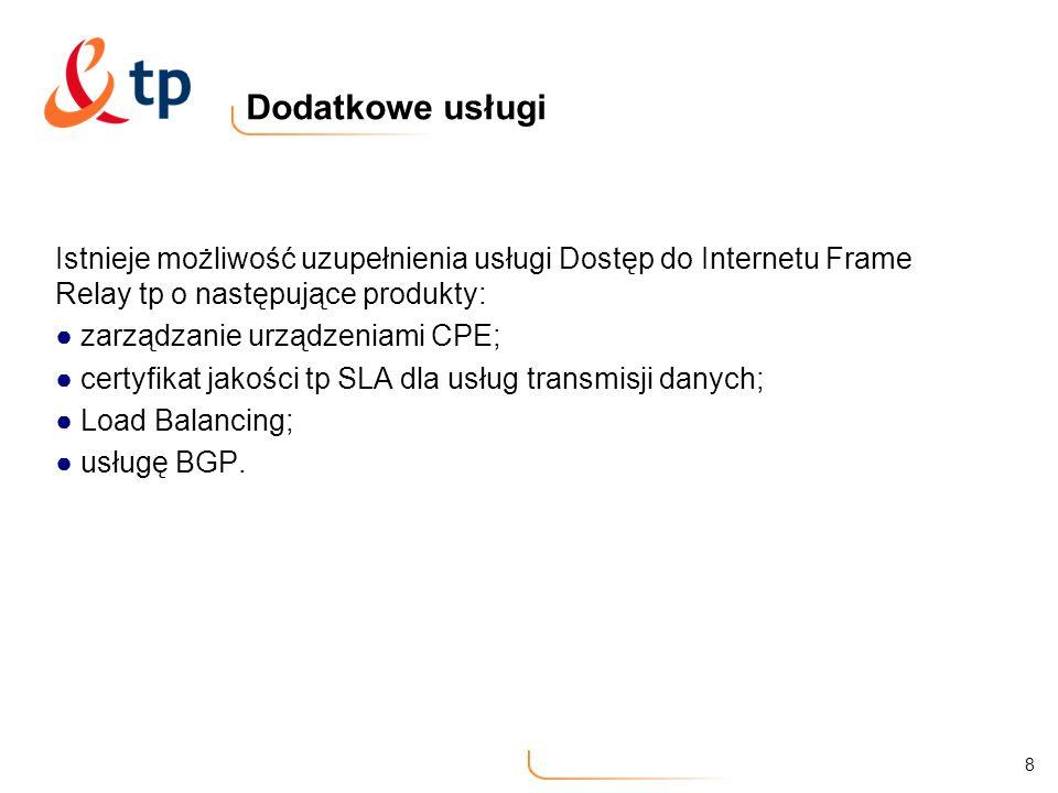 Dodatkowe usługiIstnieje możliwość uzupełnienia usługi Dostęp do Internetu Frame Relay tp o następujące produkty: