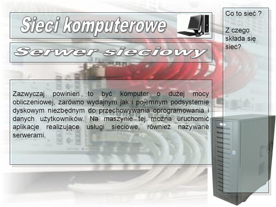 Sieci komputerowe Serwer sieciowy Co to sieć
