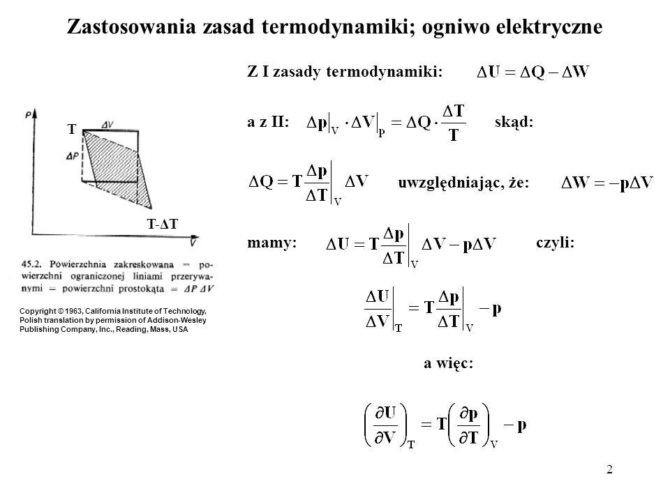 Zastosowania zasad termodynamiki; ogniwo elektryczne