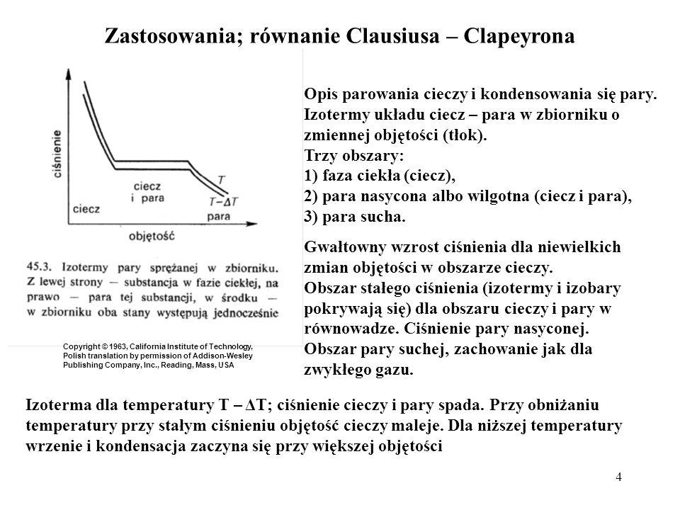 Zastosowania; równanie Clausiusa – Clapeyrona