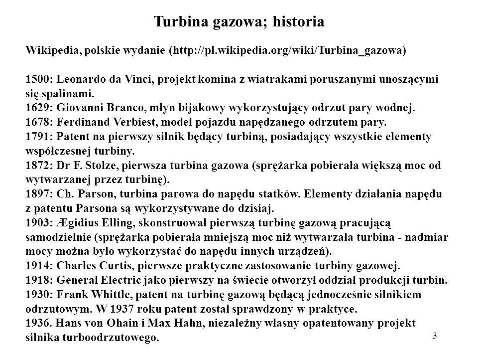 Turbina gazowa; historia