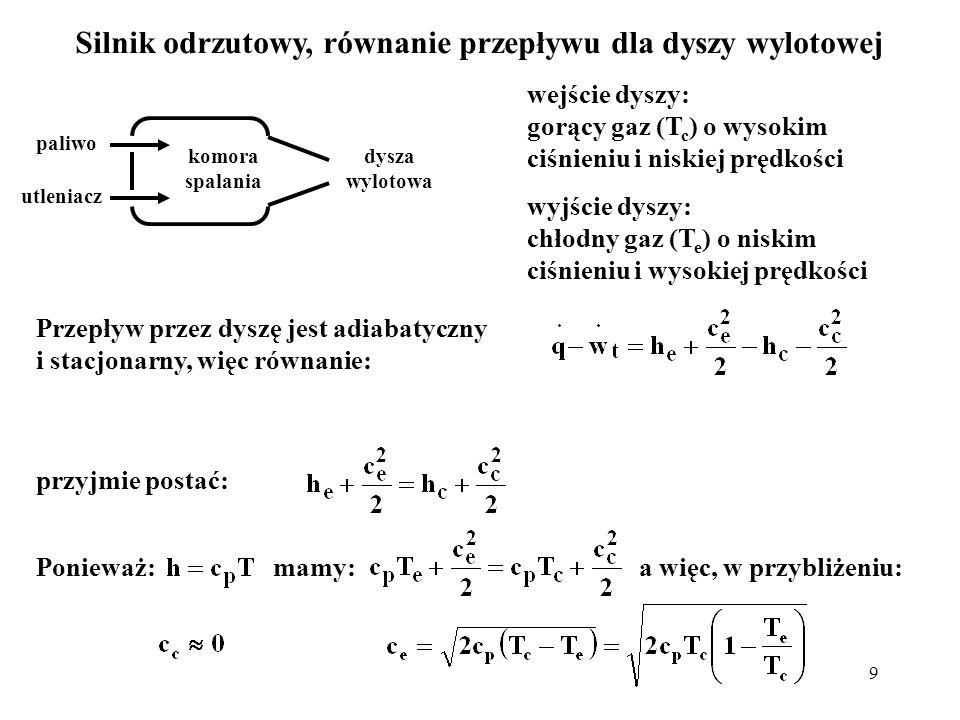 Silnik odrzutowy, równanie przepływu dla dyszy wylotowej