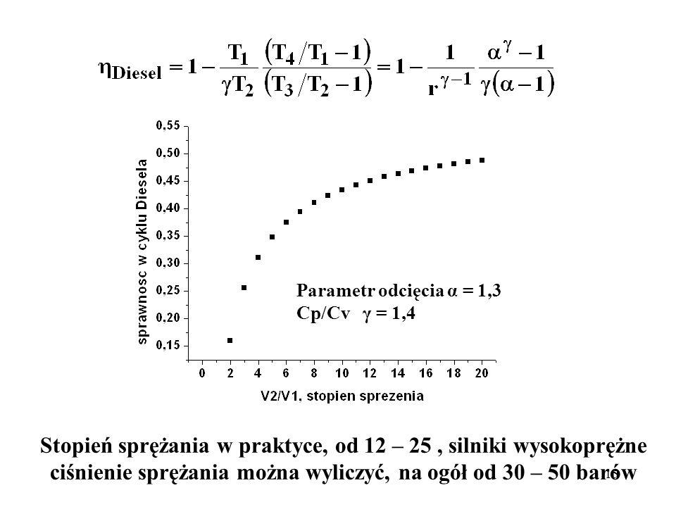Stopień sprężania w praktyce, od 12 – 25 , silniki wysokoprężne